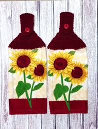 hanging kitchen towels crochet towel toppers sunflower towels