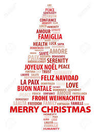 tree of words christmas card in different languages royalty free