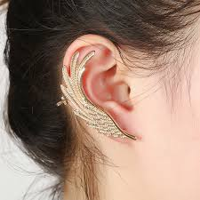 gold ear cuff hot fashion single girl ear cuff earrings 1package angel wings