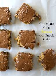 chocolate chip banana oat snack cake with peanut butter chocolate