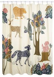 Modcloth Shower Curtain Appealing White Polyester Kids Shower Curtain Animals Theme