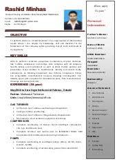 Mechanical Technician Resume Mechanical Technician Cv