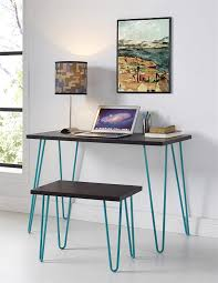 amazon com altra owen retro desk and stool set espresso teal