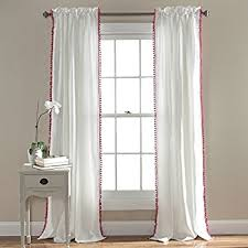 White Curtains With Pom Poms Decorating Exclusive Home Curtains Pom Pom Textured Sheer