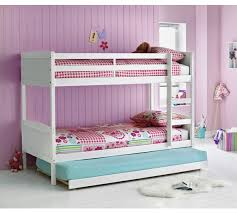 Buy HOME Detachable Single Bunk Bed Frame With Trundle White At - White bunk beds uk