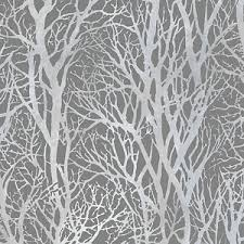 life 3 silver and grey woodland trees wallpaper paste the wall