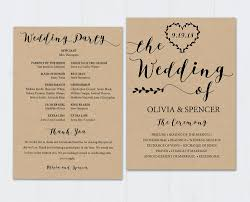 wedding program templates rustic heart vines black wedding program template