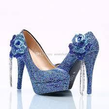 Cobalt Blue High Heels Wholesale Royal Blue Chain Flower Cinderella Shoes Prom Evening