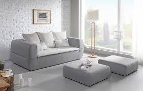 canapé avec 2 poufs couchage direct tara gris et beige