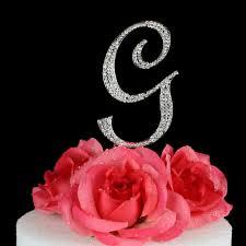 g cake topper letter g cake topper monogram 5 inch silver rhinestone