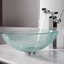bathroom bathroom glass vessel sink and faucet combination and