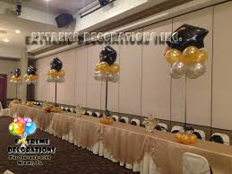 black and gold centerpieces party decorations miami balloon sculptures