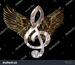 3d rendering musical note wings on stock illustration 725122060