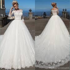 Wedding Dresses Discount 2017 Vintage Bateau Ball Gown Wedding Dresses Lace Appliques 3 4