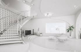 modern interior design of white living room with staircase 3d