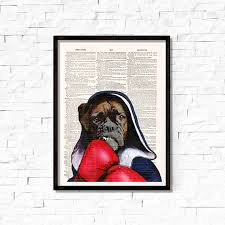 boxer dog wall art boxer dog art print boxer dog wall art original art dictionary