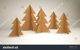cardboard christmas tree diy 3d cardboard christmas trees stock illustration 64718779