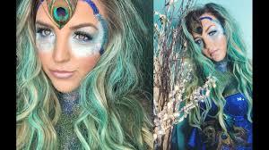 pretty peacock halloween look youtube