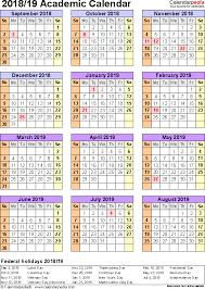 academic calendars 2018 2019 as free printable excel templates