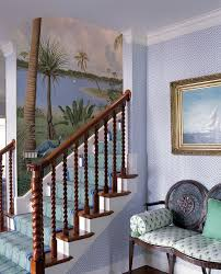coastal decorating staircase tropical with palm trees blue stair