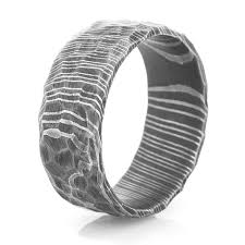 steel rings images Men 39 s rock style acid finish damascus steel ring unique titanium jpg