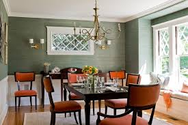 Green Dining Room Green Wall Color With Rust Colored Chairs Using Brass