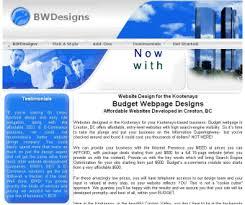 web page design website design for the kootenays budget webpage designs