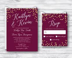 Wedding Invitation Reply Card Maroon Gold Wedding Invitation Reply Card Set Wine Themed Boho