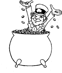 rainbow pot of gold coloring pages happy leprechaun bathe in coins inside a pot of gold coloring page