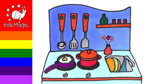 how to draw kitchen kitchen coloring pages for kids how to