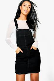 penny stretch denim pinafore dress boohoo
