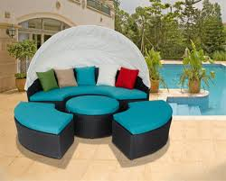 blue outdoor canopy daybed patio furniture wicker pool round sofa