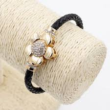 gold clasp leather bracelet images Genuine leather cord bracelet rose gold plated flower magnetic clasp jpg