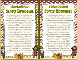 story of the thanksgiving story bracelet and poem retell