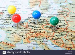 map western europe cities macro of a map showing western europe cities with a