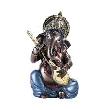 ganesha with lute small bronze resin statue hindu god statues