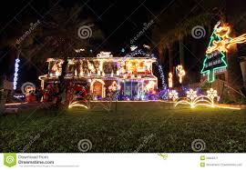 family house decorated with christmas lights and decorations