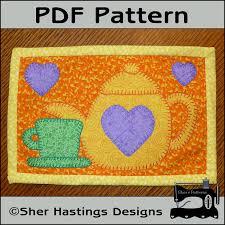 Quilted Mug Rug Pattern Pdf Pattern For Tea Time Mug Rug Teapot Mug Rug Pattern Tea Mini