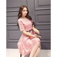 pink women o neck hollow out lace slim floral print casual