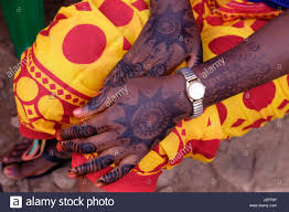 Henna Decorations A Woman With Henna Decorations In Her Hand In Mwamgongo Village