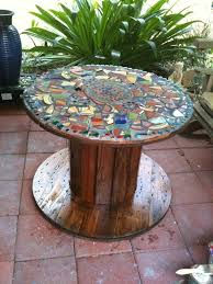 outdoor tables made out of wooden wire spools diy furniture mosaic table made from an old cable spool and