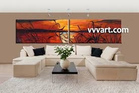 Living Room Paintings 2 Piece Red Canvas Ocean Sunset Oil Paintings Huge Pictures