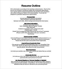 Resume Header Template Resume Outlines Resume Outline Template For Word Doc Resume