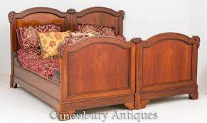 antique french mahogany double bed carved bedroom furniture 1870