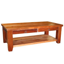 barnwood straight leg 2 drawer coffee table with shelf