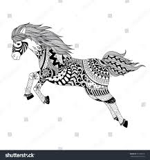 zentangle stylized jumping horse tattoo t stock vector 371069018