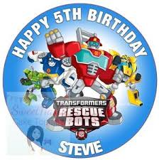 transformers rescue bots 1 edible cake or cupcake topper edible transformers rescue bots cake topper decoration personalised 7 5
