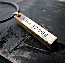 personalized mens necklaces sted personalized mens necklace brass rustic bar mens