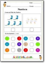 write greater or lesser worskheet printable worksheet first grade