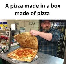 Meme Pizza - a pizza made in a box made of pizza meme xyz